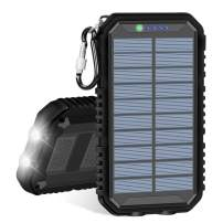 Solar Charger, IXNINE Portable Charger Power Bank 15000mAh with 2 USB Outputs Waterproof External Backup Battery with LED Flashlights for Smart Phones, Tablet and Outdoor Camping Hiking