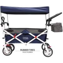 Creative Outdoor Push Pull Collapsible Folding Wagon Stroller Cart for Kids | Sun & Rain Shade | Beach Park Camping Tailgate & Garden | Navy Blue
