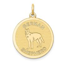 14k Yellow Gold German Shepherd Disc Pendant Charm Necklace Animal Dog Fine Mothers Day Jewelry For Women Gifts For Her