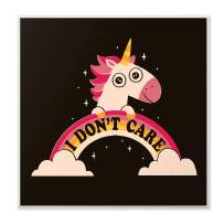 The Kids Room By Stupell Pink and Yellow Unicorn with Rainbow Doesn't Care Wall Plaque Art, 12 x 12, Proudly Made in USA