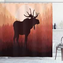 "Ambesonne Moose Shower Curtain, Antlers in Wild Alaska Forest Rusty Abstract Landscape Design Deer Theme Woods, Cloth Fabric Bathroom Decor Set with Hooks, 75"" Long, Peach Brown"