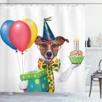 """Ambesonne Birthday Party Shower Curtain, Waiter Server Party Dog with Hat Cone Cupcake Balloons Celebration Boxes, Cloth Fabric Bathroom Decor Set with Hooks, 70"""" Long, Blue Brown"""