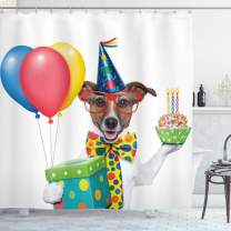 """Ambesonne Birthday Party Shower Curtain, Waiter Server Party Dog with Hat Cone Cupcake Balloons Celebration Boxes, Cloth Fabric Bathroom Decor Set with Hooks, 75"""" Long, Blue Brown"""