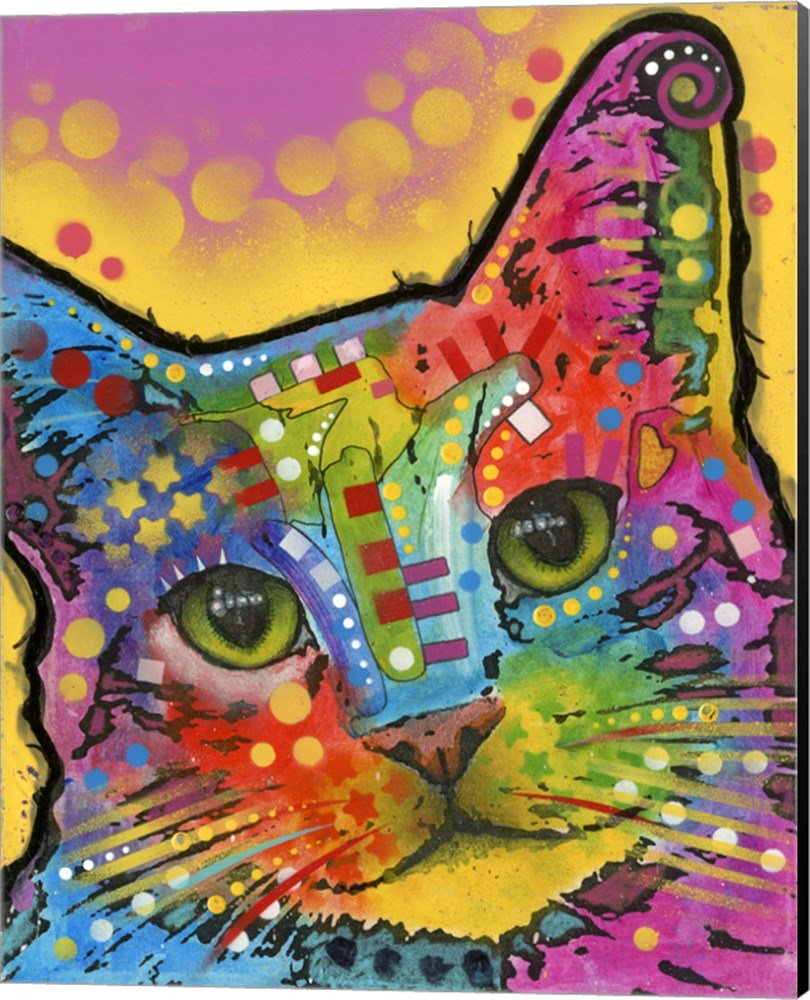 Tilt Cat by Dean Russo Canvas Art Wall Picture, Museum Wrapped with Black Sides, 16 x 20 inches