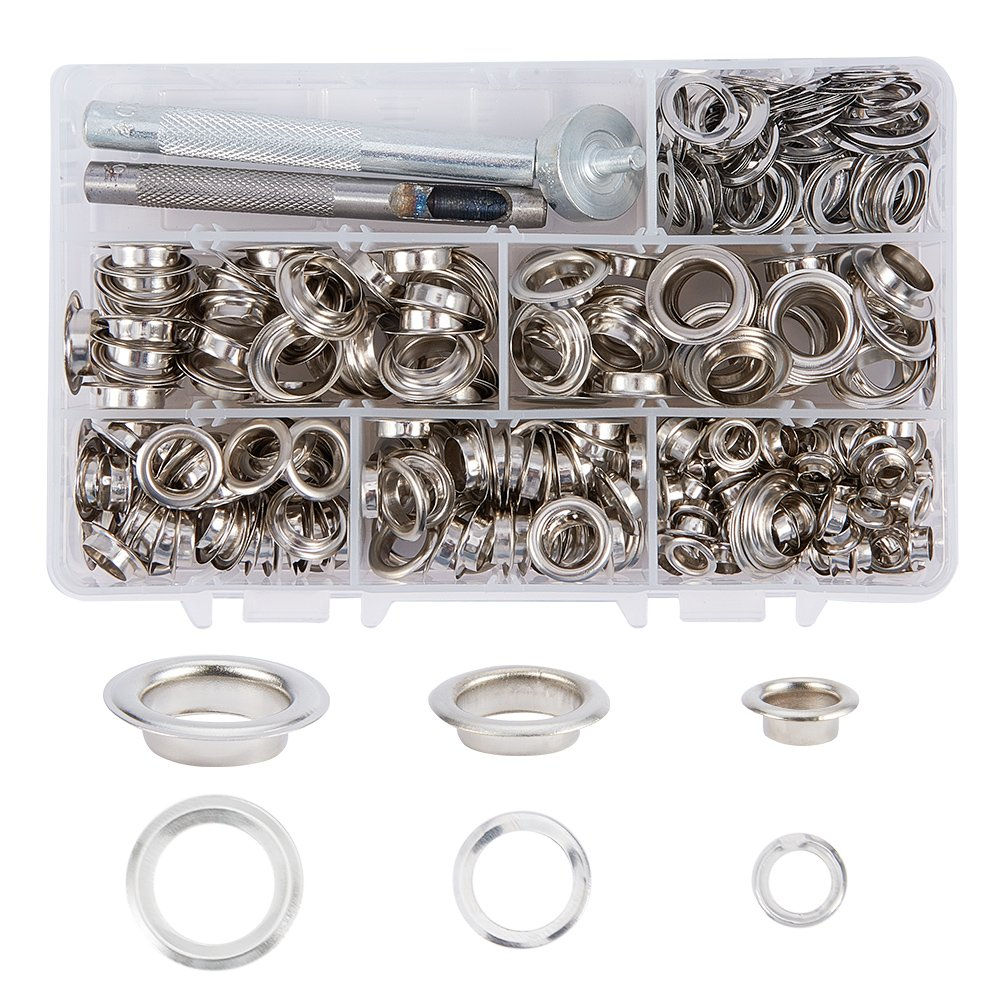 PandaHall Elite 270 Sets Grommet Eyelets Repair Fasteners 1/4 2/5 1/2 Inch with 3 Pieces Leather Rivet Hole Punch Tool for Canvas Clothes and Leather DIY Craft Platinum