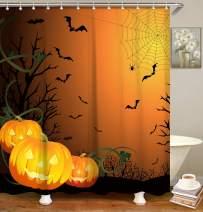 LIVILAN Shower Curtain Set with 12 Hooks, Novelty Floral Fabric Curtains for Bathtub Shower Stall, Pumpkin Bath Curtain, 72 X 72 Inch