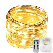 RUICHEN Fairy Lights Battery Powered with Remote, Waterproof Outdoor String Lights Battery 200 LED 66Ft Silver Copper Wire Warm White Firefly Lights, Decorative String Lights for Wedding Patio Garden