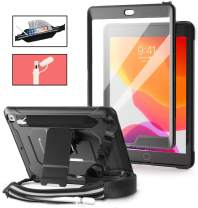 TSQ iPad 7th Generation Case 2019 with Pencil Holder, [Built in Screen Protector] iPad 10.2 Case Heavy Duty Shockproof Rugged Protective Case with Pencil Elastic Pocket/Pencil Cap Holder/Stand,Black