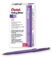 Pentel Rolling Writer Pen, 0.8 Millimeter Cushion Ball Tip, Violet Ink, Box of 12  (R100-V)