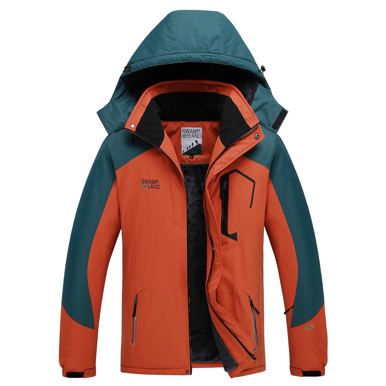 Yavero Men's Mountain Waterproof Ski Jacket Windproof Warm Winter Rain Coat Detachable Hood Outwear