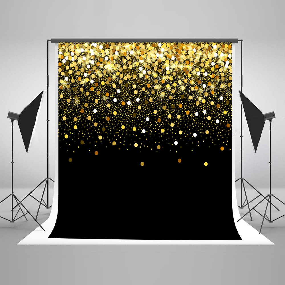 10ft(W) x10ft(H) Gold Dots Photography Backdrop Black with Golden Particles Photo Background Shinning Glitter Photo Studio Props for Kids Baby Wedding Decoration
