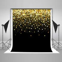 8ft(W) x8ft(H) Gold Dots Photography Backdrop Black with Golden Particles Photo Background Shinning Glitter Photo Studio Props for Kids Baby Wedding Decoration