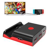 AKNES TV Dock Station for Nintendo Switch, Mini Portable Docking Charging Stand,Compact Switch to HDMI 4K TV Adapter Dock Set,with Extra 3 USB 3.0 Port, Replacement Charging Dock for Nintendo Switch