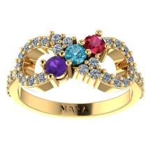 NANA Infinity Mothers Ring with 1 to 6 Simulated Birthstones 14k Gold