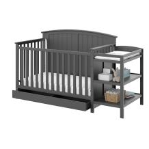 Storkcraft Steveston 4-IN-1 Convertible Crib and Changer with Drawer, Gray Easily Converts to Toddler Bed, Day Bed or Full Bed, 3 Position Adjustable Height Mattress