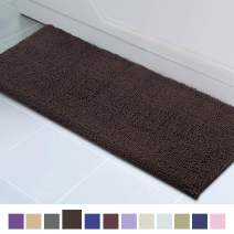 ITSOFT Non Slip Shaggy Chenille Soft Microfibers Runner Large Bath Mat for Bathroom Rug Water Absorbent Carpet, Machine Washable, 21 x 59 Inches Chocolate Brown