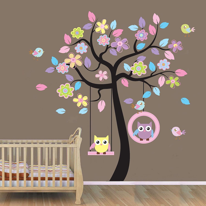 Owl Decor Animal Tree Wall Decal Removable Jungle Owl Wall Decor Sticker Vinyl Wall Art Mural Wallpaper for Kids Room Decor (78AB)