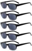 Eyekepper Design Reading Sunglasses-5 Pack Grey Tinted Lens Glasses for Women Men Reading Under The Sun,+3.00 Reader Eyeglasses