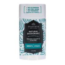 SVASTHYA BODY & MIND Natural Deodorant with Essential Oils - Men - Gentle Skin Nourishing with a Refreshing Scent of Bergamot, Eucalyptus, Tea Tree & Coconut Oil - Made In The USA, 2.45oz