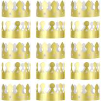 Jovitec 24 Pieces Golden King Crowns Gold Foil Paper Party Crown Hat Cap for Birthday Celebration Baby Shower Photo Props