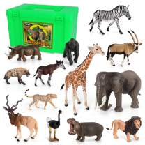 Volnau Animal Figurines Toys Africa Animals Figures for Kids Christmas Birthday Gift Zoo Pack Preschool Educational and Lion Jungle Forest King Animals Sets