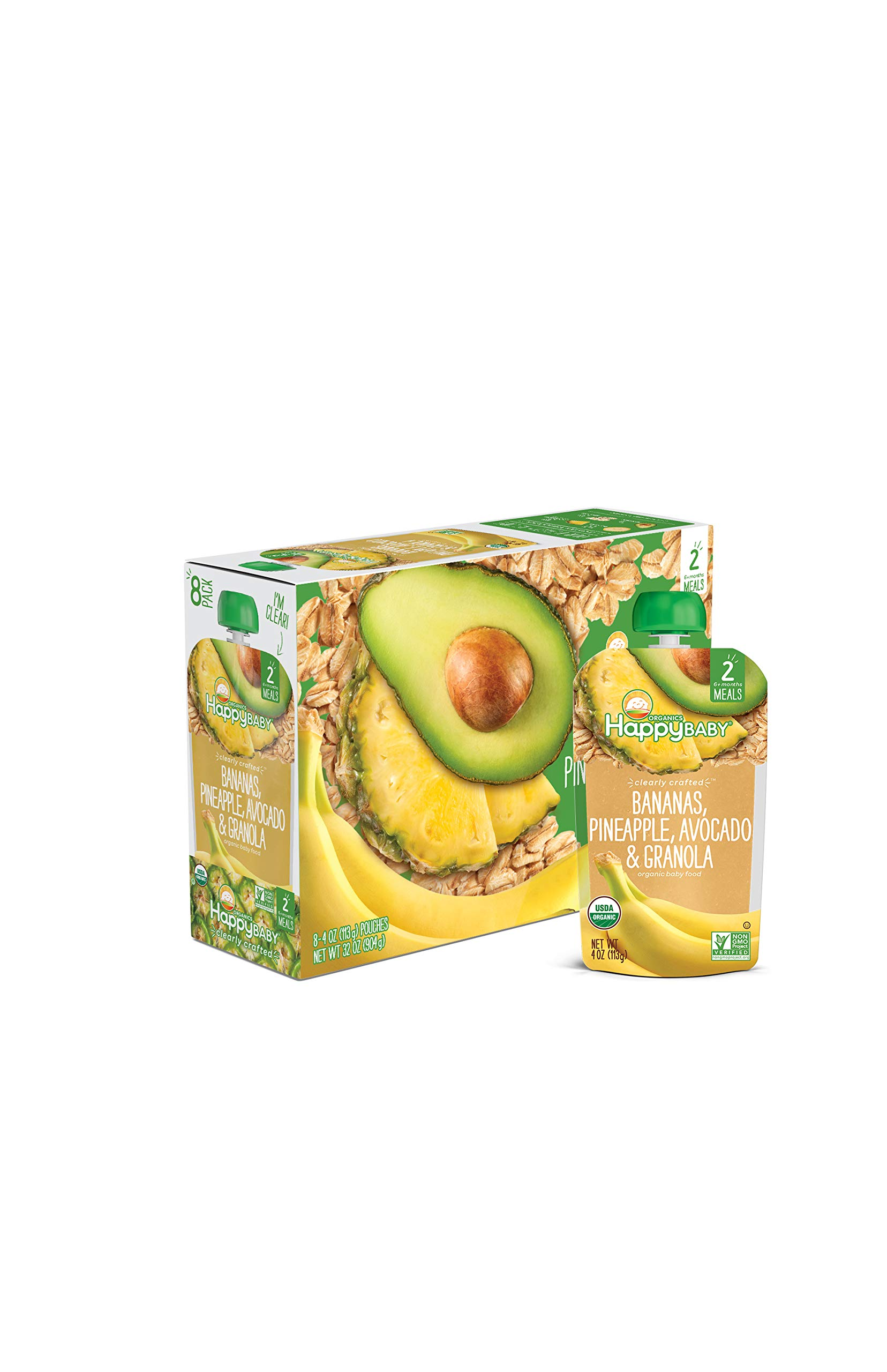 Happy Baby Organic Clearly Crafted Stage 2 Baby Food Bananas, Pineapples, Avocado & Granola, 4 Ounce Pouch (Pack of 16)