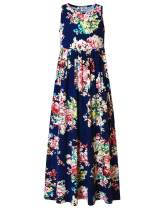 Jxstar Girls Maxi Dresses Long Dress Floor Length with Pockets Black/Floral