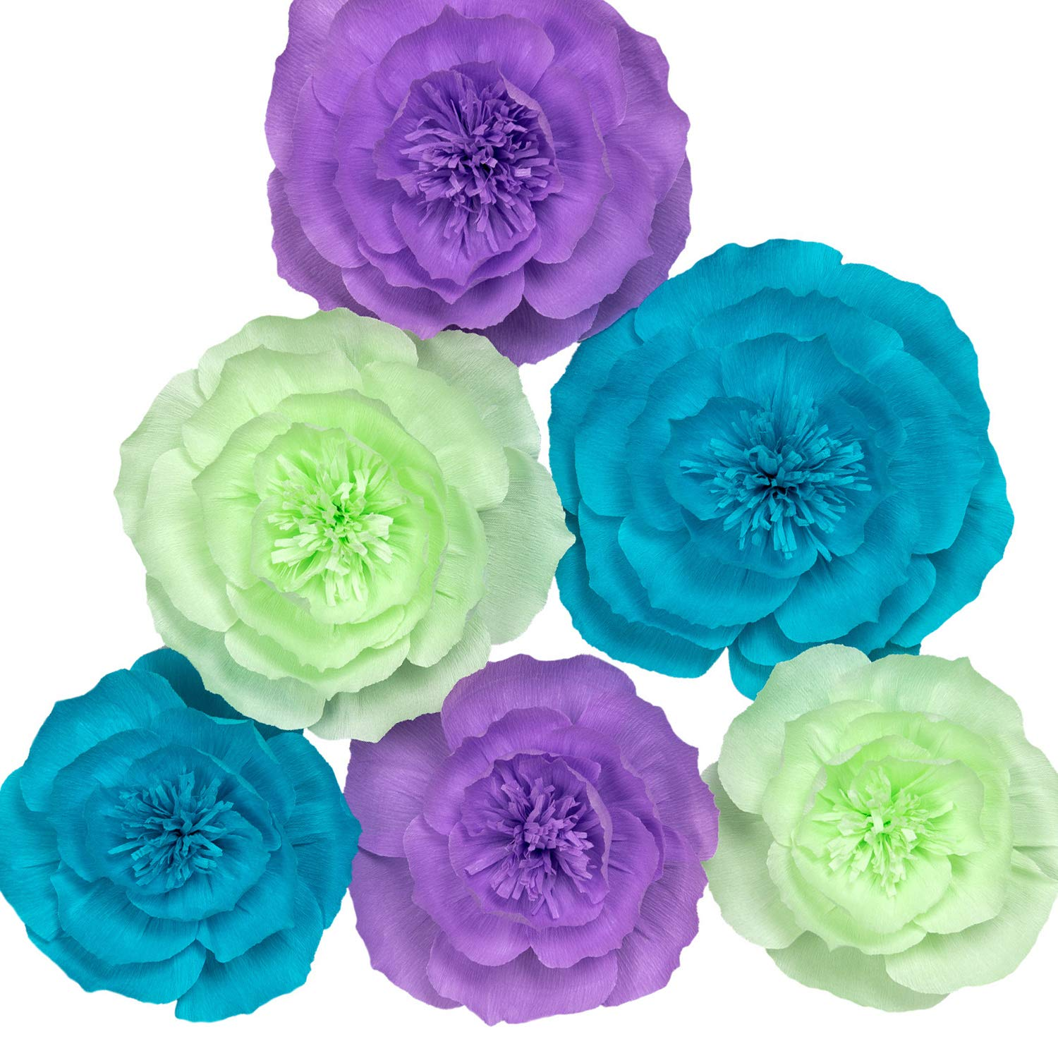 Paper Flower Decorations, Large Crepe Paper Flowers, Wedding Flower Backdrop, Giant Paper Flowers (Purple, Teal Blue, Light Green, Set of 6) for Wedding, Bridal Shower, Baby Shower, Wall Decorations