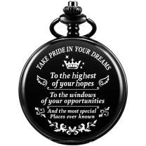 SIBOSUN Graduation for Him - Pocket Watch - Engraved Take Pride in Your Dreams – Perfect College High School Graduation for Son Daughter | Him Her | for Classmates