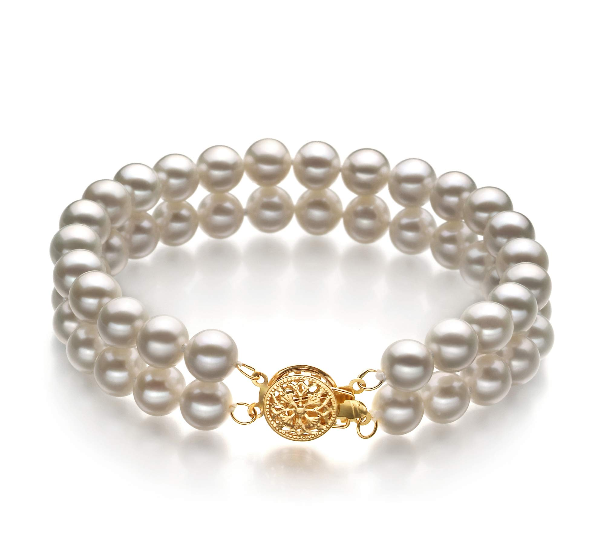 Lola White 6-7mm Double Strand AA Quality Freshwater Gold filled Cultured Pearl Bracelet For Women