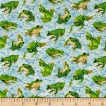 Fabri-Quilt Light Blue/Multi Frolicking Fields Tossed Frogs