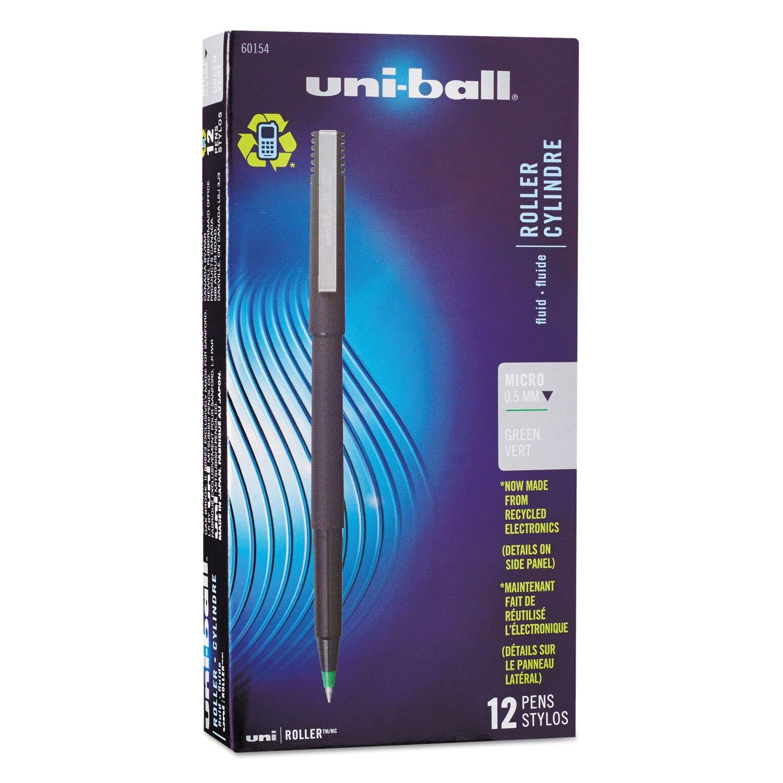 UNI 60154 Uni-Ball Roller Pen Rollerball, Green, Micro 12 pk