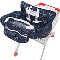 UNKU Shopping Cart Cover, High Chair Covers for Baby, 2-in-1 360° Protection with Soft Cotton and Beautiful Pattern, Machine Washable, Wonderful Gifts for Mom, Star Night Black