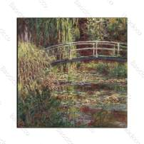 Baocicco 16x16 Inch Claude Monet 1840-1926 Impressionist Japanese Bridge Canvas Oil Painting Ready to Hang for Bedroom Home Office Decoration Wall Art for Home Decor No Frame Rolled Package