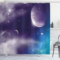 """Ambesonne Space Shower Curtain, Universe with Planet and Crescent Moon on Starry Night Sky Science Fiction Design, Cloth Fabric Bathroom Decor Set with Hooks, 70"""" Long, Blue Purple"""