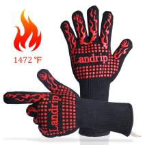 Landrip BBQ Gloves, 1472°F Extreme Heat Resistant Grill Gloves Kitchen Oven Mitts for Grilling Cooking Baking Welding - 1 Pair (Red)