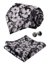 Alizeal Mens Floral Pattern Tie, Hanky and Cufflinks Set