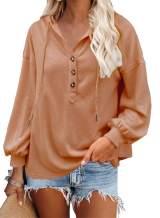 VICHYIE Womens Hoodies Long Sleeve Tunic Top Button Down V Neck Drawstring Henley Oversized Shirt Sweatshirt Blouses