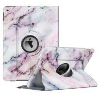 """Fintie Rotating Case for New iPad 7th Generation 10.2 Inch 2019 - [Built-in Pencil Holder] 360 Degree Rotating Smart Protective Stand Cover with Auto Sleep/Wake for iPad 10.2"""" Tablet, Marble Pink"""