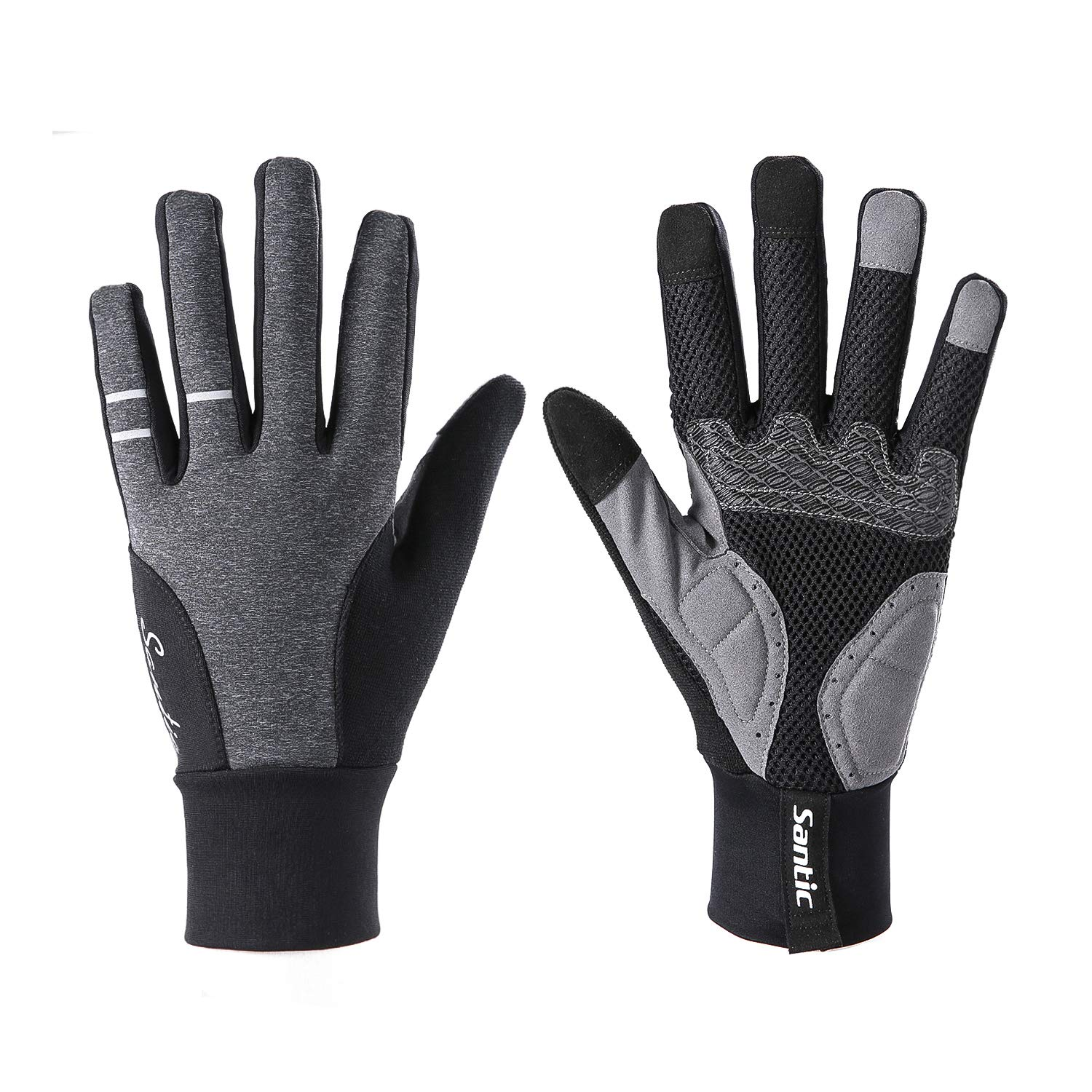 Santic Mens Thermal Cycling Gloves Touch Screen Glove Full Finger Warm Winter Inner Fleece Gloves for Workout Running Riding Skiing Outdoor Sports