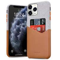 BIGPHILO iPhone 11 Case with Card Holder, Mix Series Slim Cover iPhone 11 Wallet Style, Soft-Touch Fabric with Vegan Leather Case for iPhone 11 (6.1-inch) - Gray/Brown
