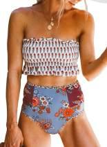 Eytino Women Printed Strapless Shirred Smocked High Cut Bandeau Two Pieces Bikini Set Swimsuit(S-XL)