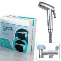 Hibbent Dual Function 2 Sprayer(Stream/Jet) Hand Held Bidet Toilet Sprayer Shattaf Cloth Diaper Sprayer Kit - Personal Hygiene Cleaning with No Leaking Toilet Attachment - Chrome