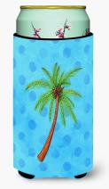 Caroline's Treasures BB8166TBC Palm Tree Blue Polkadot Tall Boy Beverage Insulator Hugger, Tall Boy, multicolor