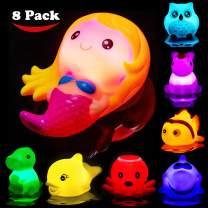 Bath Toys for Toddlers Baby 8 Pack Light Up Toys - Bathtub Toy Flashing Colourful LED Light Shower Bathtime For Kids Infants Shark, Clown fish, Owl, Unicorn, Octopus, Dolphin, Dinosaur Mermaid Toys