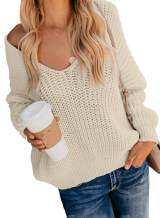 ZKESS Womens Casual Popcorn Sweater V Neck Long Sleeves Loose Fit Sweater Solid Tops Pullover S-XL