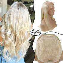 Runature U Wig Color 613 Bleach Blonde Color 140g Natural Hair Half Wigs 18 Inches Half Wig One Piece Human Hair Extensions 100% Remy Human Hair Extentions