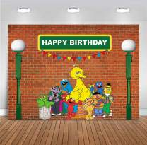 MMY 7x5ft Sesame Street Brick Wall Photography Backdrop Boy Girl Baby Shower Birthday Party Banner Supplies Cake Table Background Decoration Photobooth Props