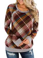 Yonala Women Buffalo Plaid Long Sleeve Shirt with Suede Pocket Patchwork Blouse Top Tunic