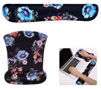 CaseBuy Keyboard Wrist Rest and Mouse Pad Floral, Mouse Wrist Rest Set for Computer/Laptop/Mac, Durable & Comfortable & Lightweight for Easy Typing & Pain Relief